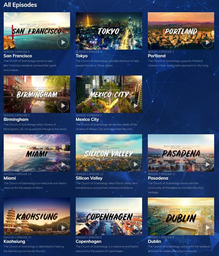 na Scientologické televizi shlédnout pořady o jednotlivých Scientologických organizacích ve světě