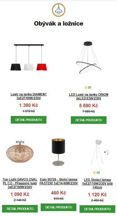 světla pro obývák a ložnice