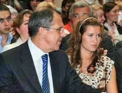 Ekaterina Vinokurova dcera Ruského ministra zahraničí Sergeje Lavrova s svým otcem